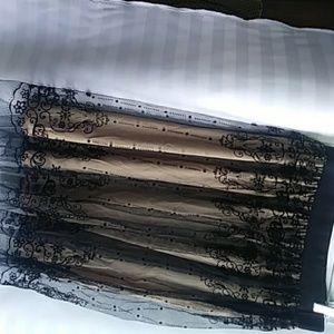 Dresses & Skirts - Black Lace Skirt with tan lining